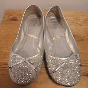 Silver Cute Glittery Rhinestone Flats